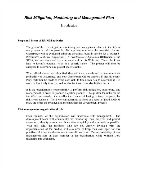 smart risk mitigation plan