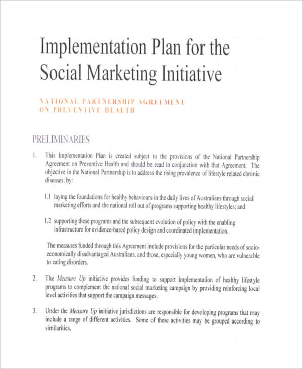 social marketing implementation plan