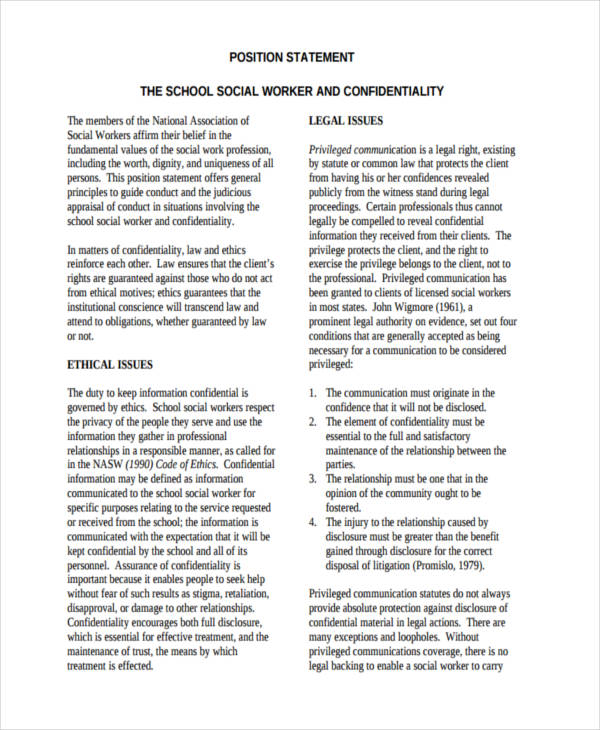 social work confidentiality statement