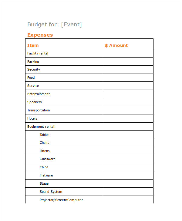 Event Budget Examples  Samples