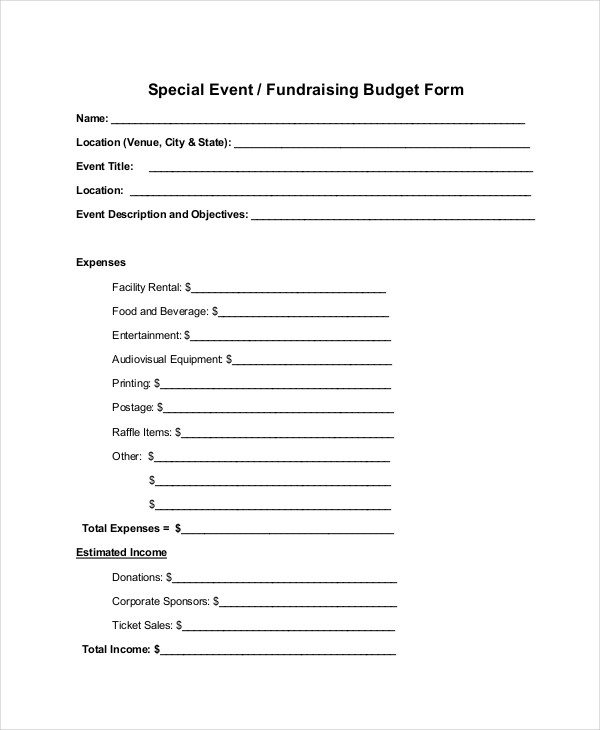 special fundraising budget