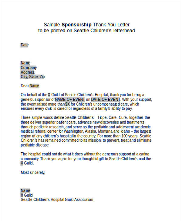 Sponsor Thank You Letter Sponsorship Event Thank You Letter Sample
