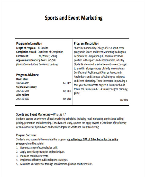 sport event marketing plan