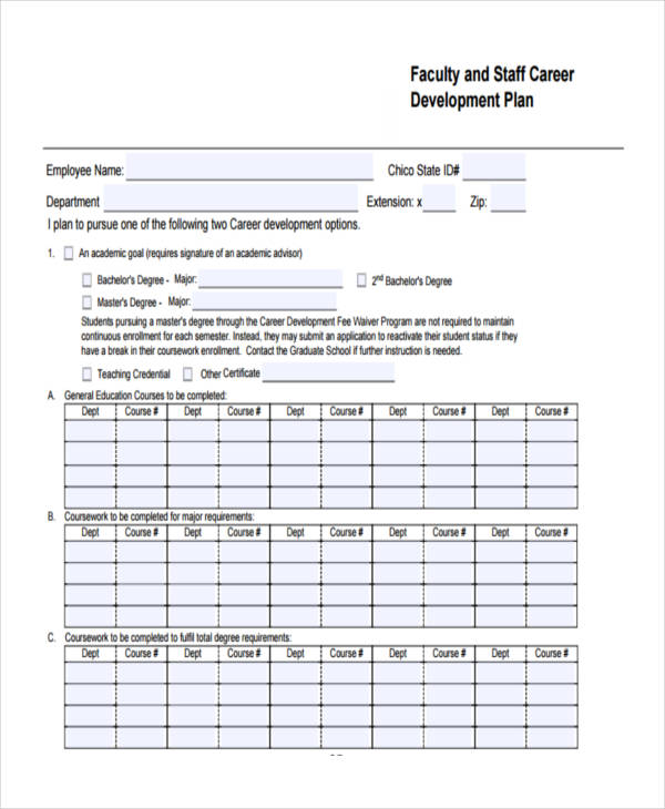 staff career development plan