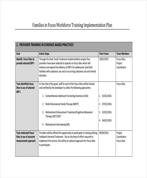 staff training implementation plan