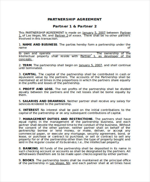 Business Partnership Agreement Sample  Bussines Proposal