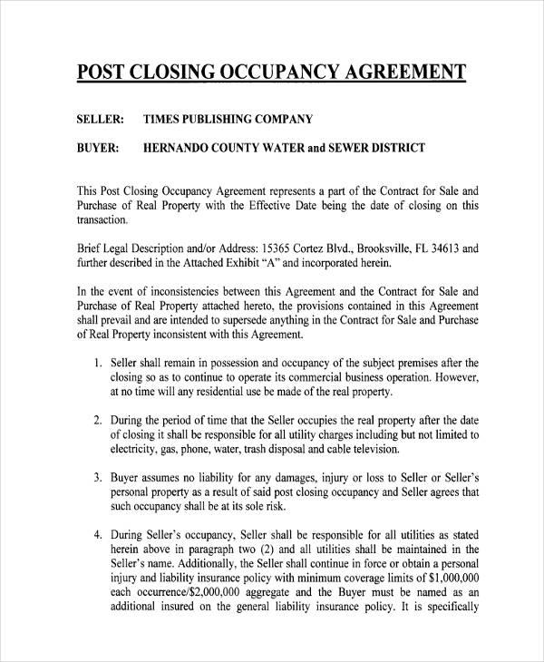standard commercial occupancy agreement