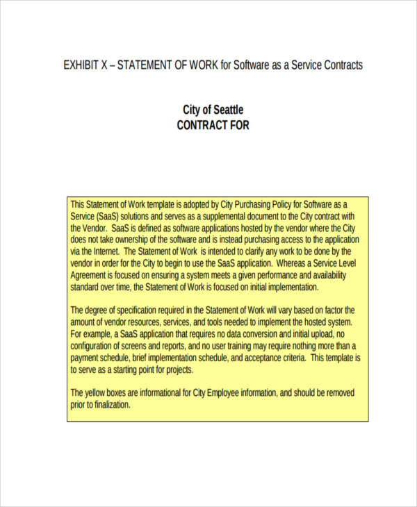 statement of work service contract