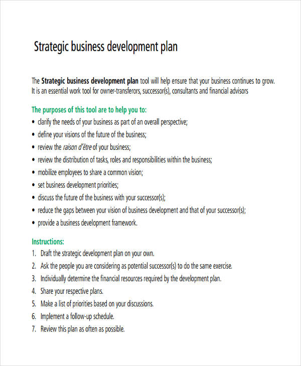 strategic business development plan