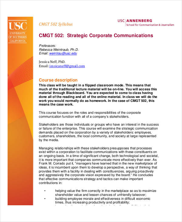 strategic corporate communication plan