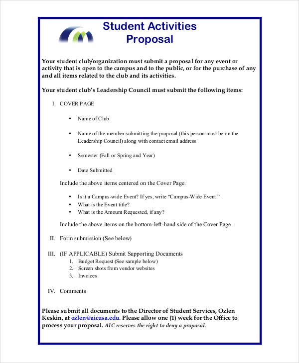 Student Council Project Proposal  How To Write An Event Proposal