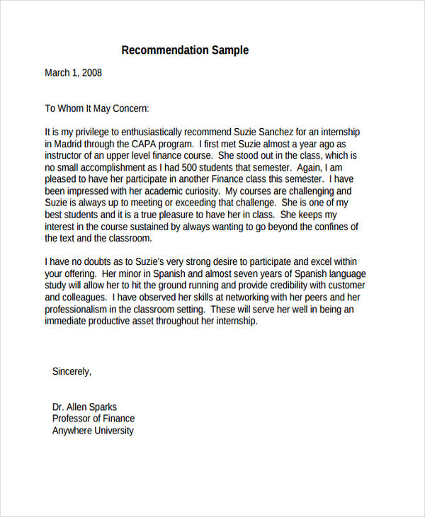 82 Recommendation Letter Examples Samples DOC PDF
