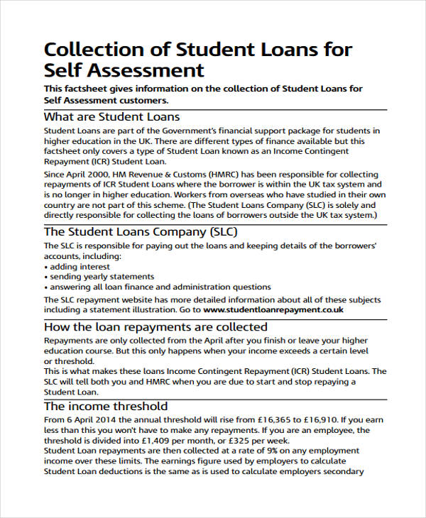 student loan self assessment