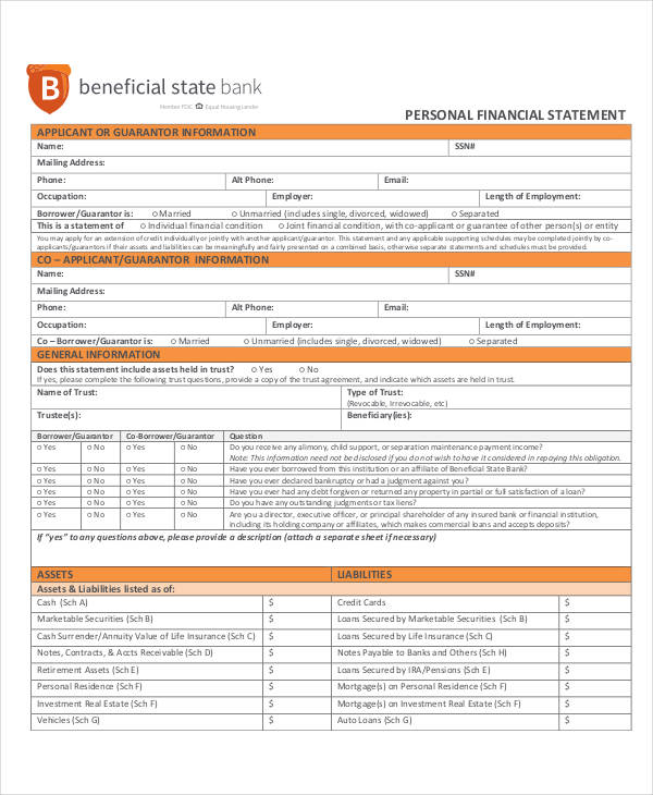 student personal financial statement