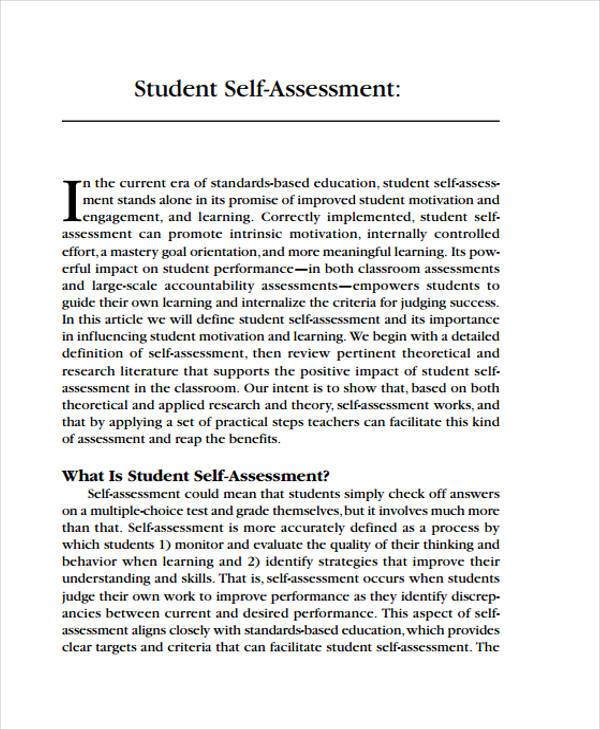 Self Assessment Examples  Samples  Pdf
