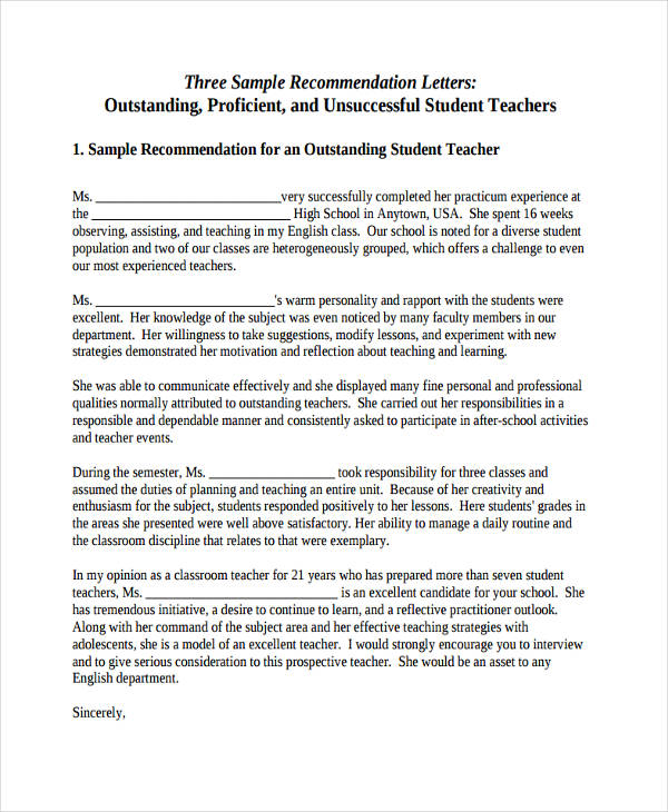 student teacher recommendation letter