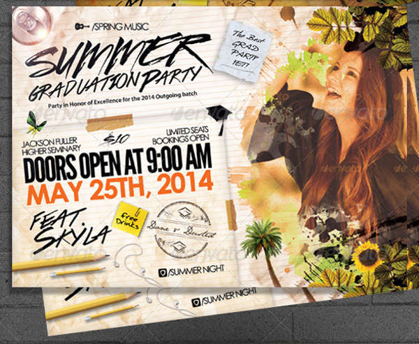 summer graduation party flyer