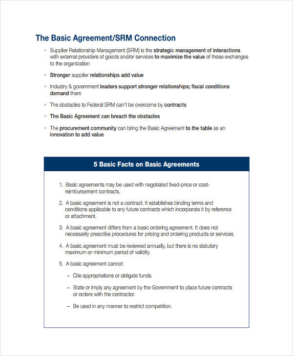 Supplier Relationship Management Agreement  Basic Services Contract