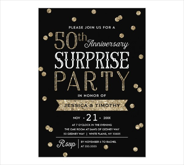 surprise anniversary party invitation