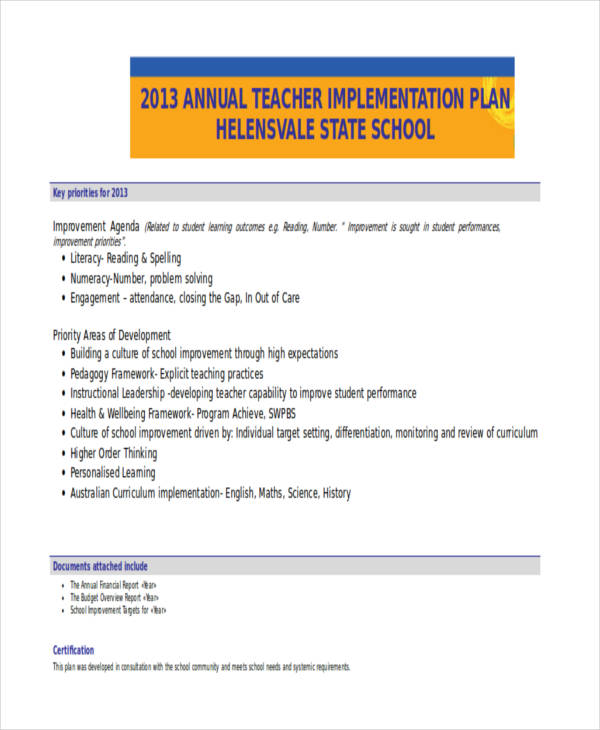 teacher annual implementation plan