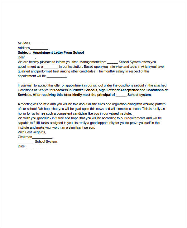 Teacher Job Appointment Letter