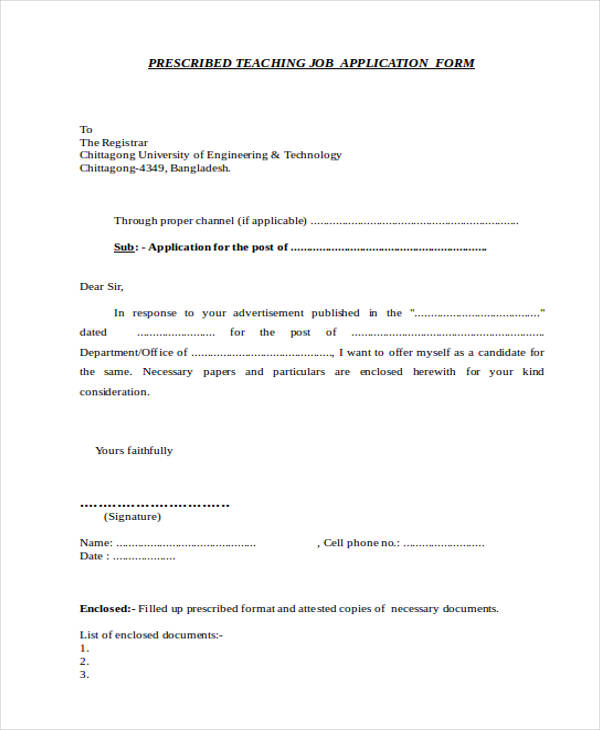 teaching job application letter