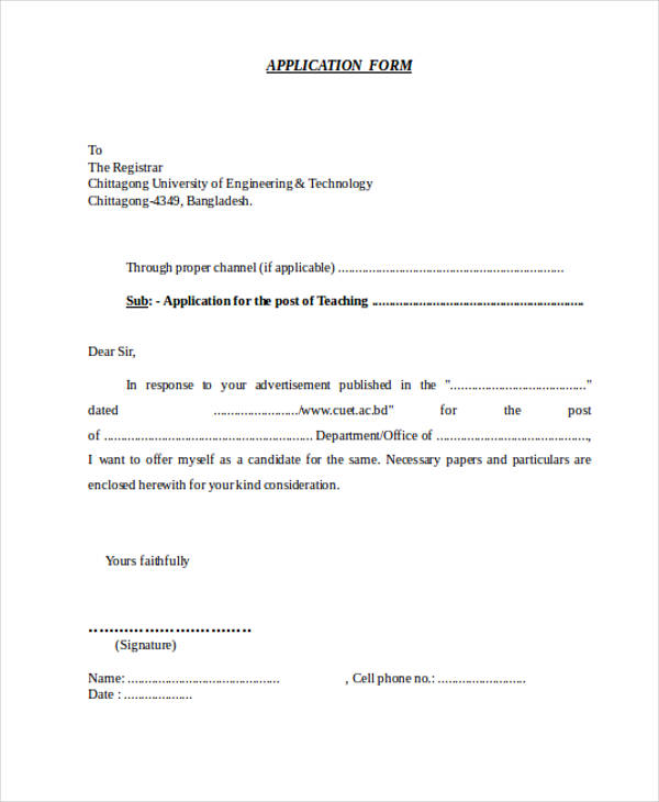 teaching post application letter