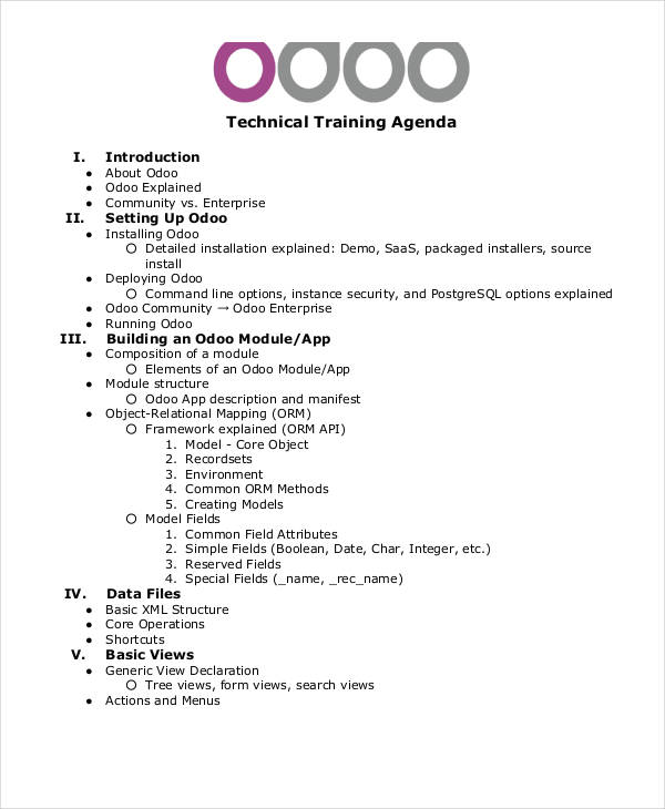 technical training agenda in pdf