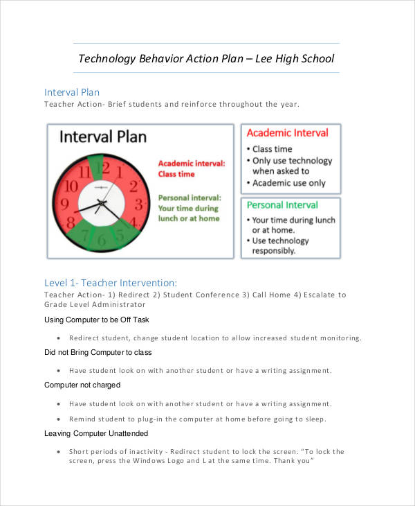 technology behavior action plan