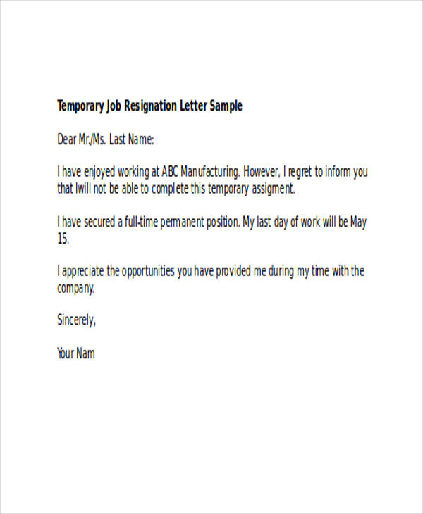 49 resignation letter examples temporary employee resignation letter expocarfo Image collections