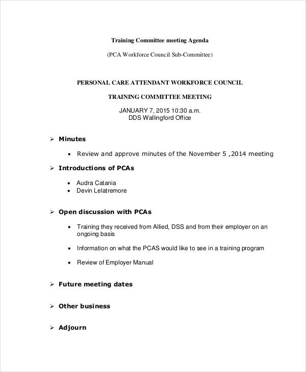 training committee meeting agenda