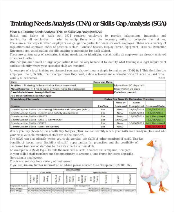 training needs gap