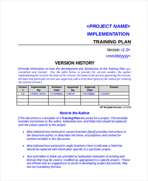 training project implementation plan