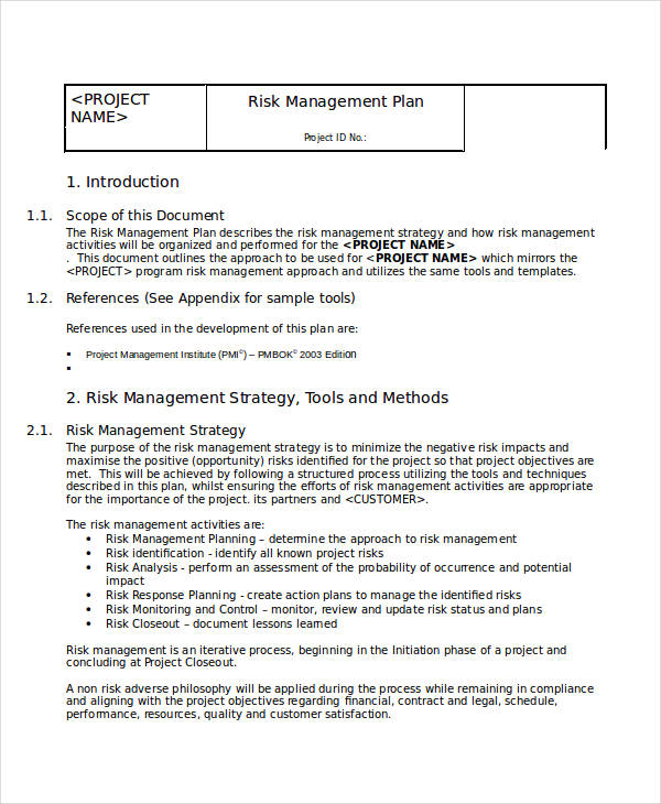training risk management plan