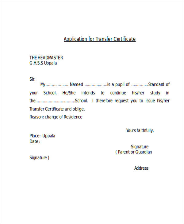 transfer certificate application letter