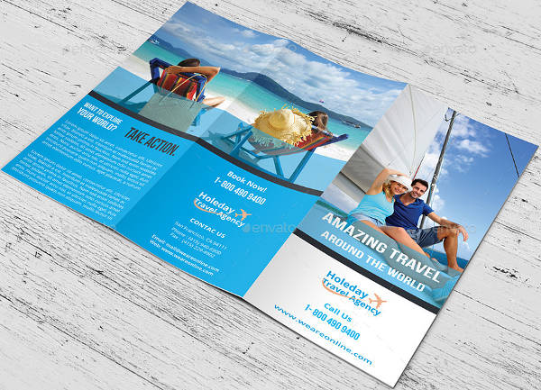 travel advertising tri fold brochure