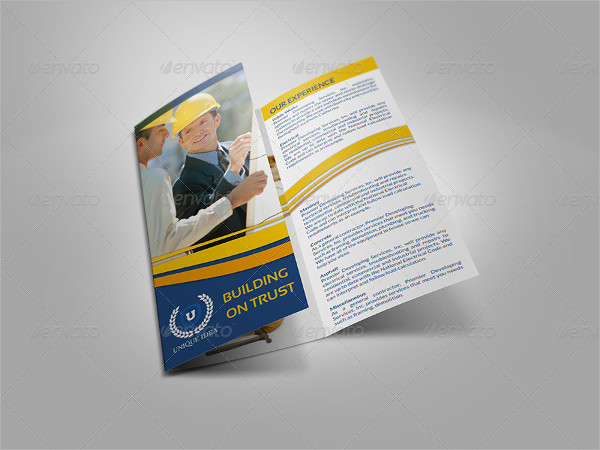 tri fold construction company brochure