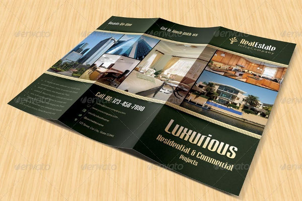 tri fold real estate advertising brochure