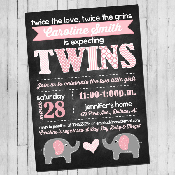 twin girl baby shower invitation