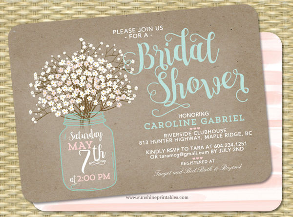 -Unique Handmade Bridal Shower Invitation