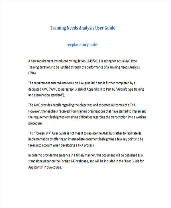 user training needs analysis