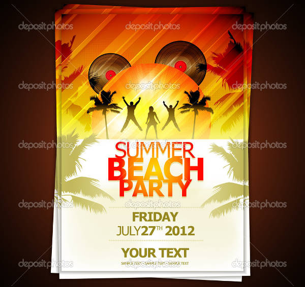 vector beach party flyer