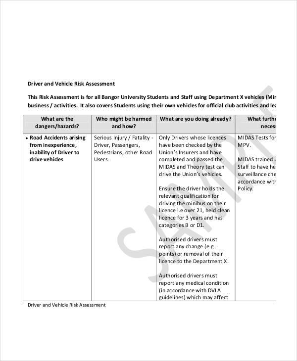 vehicle driver risk assessment