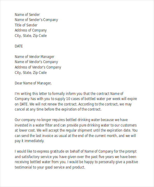vendor contract termination letter