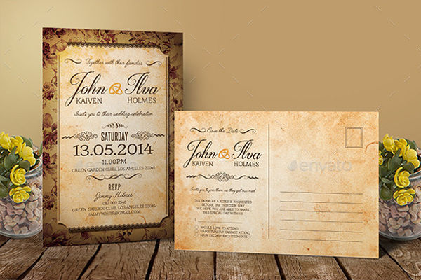 vinatage wedding invitation card