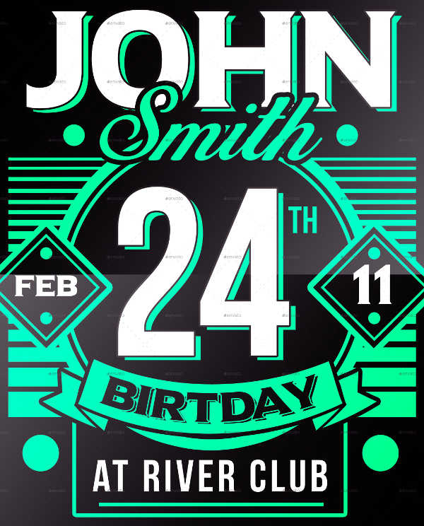 vintage 24th birthday invitation