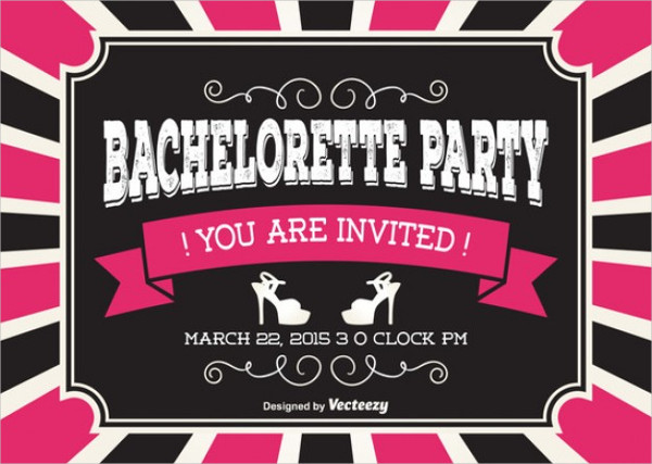 vintage bachelorette party invitation