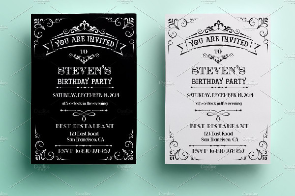 vintage birthday invitation flyer