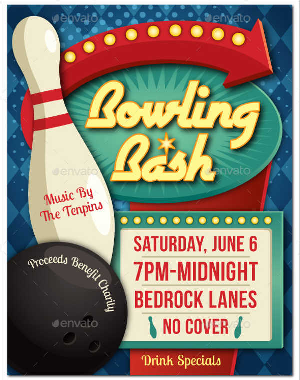 -Vintage Bowling Event Poster