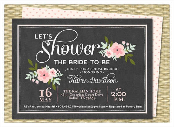 -Vintage Chalkboard Bridal Shower Invitation